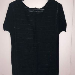 Black short sleeve sweater
